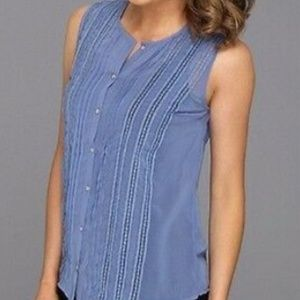 PJK Patterson J. Kincaid Tops - NWT $88 PATTERSON KINCAID BLUE SEMI SHEER BLOUSE L